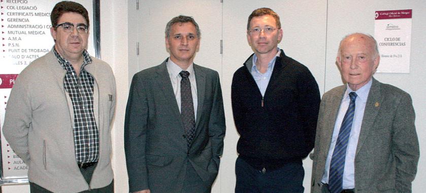 El presidente del COMIB, Antoni Bennasar, junto a Guillem Salvá y Diego de Sotto y Alfonso Ballesteros, presidente de Fundació Patronat Científic del Col·legi de Metges.