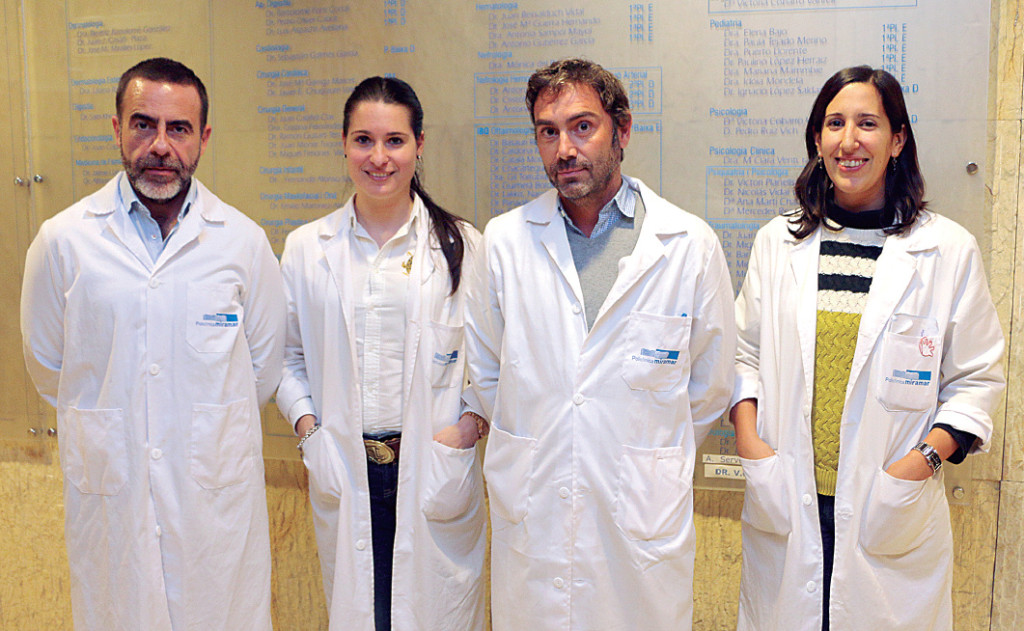 Los doctores Manuel Millán, Alba Félez, Daniel Giner, responsable clínico de la Unidad de Psiquiatría y Cristina del Canto, psicóloga clínica.