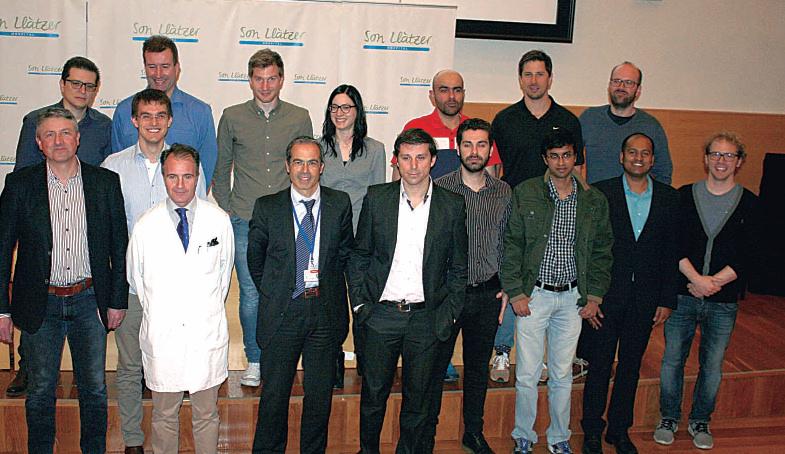 Los responsables del proyecto con el director de Son Llàtzer, Francesc Marí, el ingeniero de Sampol, Pau Cortés y el coordinador de Opti Wolfgang Birk.
